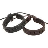 Fashion Men Women Leather Charm Handmade Braided Bracelet Black Brown Bangle