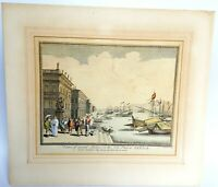 18th century Etching by Nathaniel Parr, hand colored ,Venice.