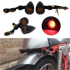 4x Motorcycle Black 20 LED Brake Stop Running Turn Signals Light Red 10mm Custom