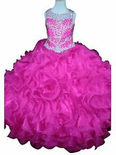 Princess Miss Girls Pageant Dresses Ruffled Kids Crystal Party Ball Gowns