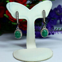 NATURAL 6 X 8 mm. GREEN COLOMBIAN EMERALD & WHITE CZ EARRINGS 925 SILVER