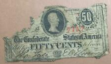 """1863 Us Confederate States of America! """"Fifty Cents Paper Money Currency! Rough!"""