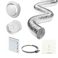 "4"" Inline Bathroom Extractor Fan Timer Full Kit + PIR Motion Sensor + Timer"