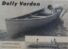 13' Cedar Strip River/Lake Boat HowTo build PLANS 1953 DOLLY VARDEN square stern