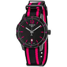 Tissot Quickster Black Dial Black and Hot Pink Nylon Ladies Watch T0954103705701