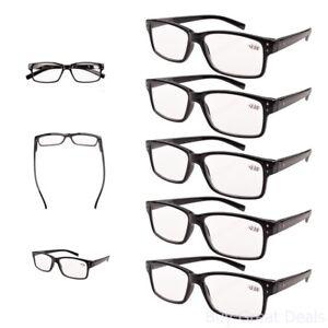 5 Pack Spring Hinges Vintage Look Reading Glasses Men Readers Black +1.5
