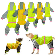 Dog Raincoat Waterproof Hoodie Jacket Reflective Sun Rain Protection Clothes Pug