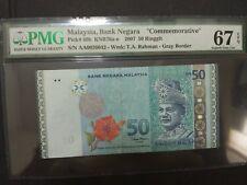 AA 2000042 First Prefix & Low Number RM50 Zeti PMG 67 EPQ Malaysia