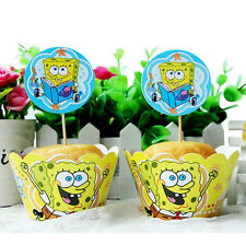 24 PCS SPONGEBOB SQUARE PANTS CUPCAKE TOPPERS & WRAPPERS / BIRTHDAY KID BIRTHDAY