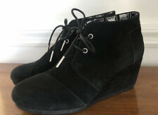 TOMS Kala Black Suede Lace Up Wedge Ankle Booties NWOT Size 7.5