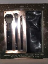 """Flower""""Brush Up"""" Face,Eye & Lip Brush Set With Brush Roll New Boxed Makeup Tools"""