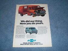 """1976 Chevy G10 G20 Vintage Van Ad """"We Did Our Thing. Now You Do Yours."""""""