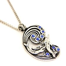 Fire & Ice Fantasy Mermaid Dolphin Sea Pendant Necklace Pewter Blue Crystal F151