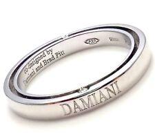 Rare! Authentic Damiani Brad Pitt Platinum 4 Diamond 3mm Band Ring Sz 7