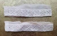 "A36 Antique Eyelet Lace Cuffs 12"" Around Salvage Primitive Costume Reenact"