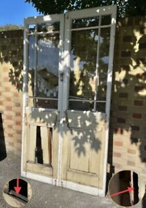 Reclaimed French Single Pane Glass Wooden Double Doors 2140 x 1180mm