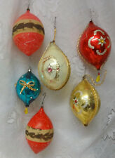 Antique Victorian Germany Wire Wrap 6 Glass Christmas Feather Tree Ornaments