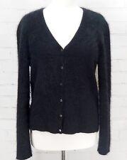 Ralph Lauren Angora Rabbit Hair Wool Cardigan V-Neck Sweater Black Fuzzy Size L