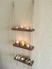 HANDMADE STAINED WOODEN ROPE LADDER SHELF / SPICE RACK - THREE TIER