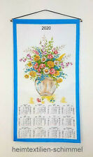 Textiler Wandkalender 2020 Textilkalender Stoffkalender Kalender BLUMEN 35x65cm
