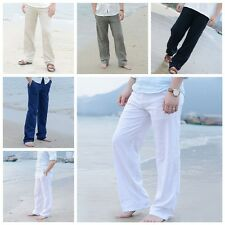 Mens Linen Loose Pants Beach Drawstring Yoga Casual Long Slacks Trousers Hot