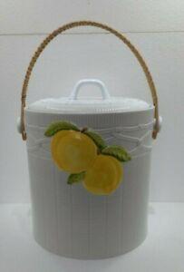 Georges Briard Ceramic Ice Bucket  Wicker Bail