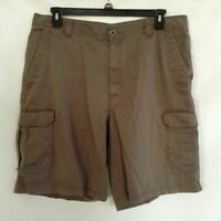 Columbia Mens Cargo Shorts Olive green Flat Front Pockets Mid Length 38