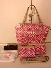 Rare 3pc NWT COACH Pink LEAH Optic C Lg Tote Purse Bag Shopper Sm& Med Wristlet