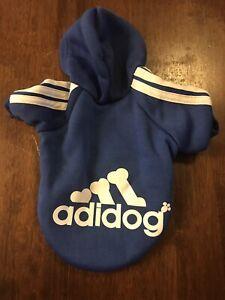 Adidog Dog Hoodie 2 Legs Jumpsuit Puppy Hoodies Coat Sweatshirt Size XS