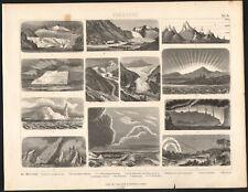 1870 Gravure originale Météorologie Icebergs Aurores boréales Glaciers