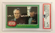 1977 TOPPS STAR WARS TRADING CARD - SERIES 4: GREEN - #222 EVACUATE? - PSA 8