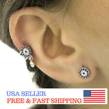 Sterling Silver Ear Cuff Earring No Pierce Evil Eye Protection Trend (One Piece)