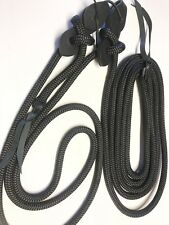 """mecate rein yacht rope black 5/8"""" mecate 22' with leather poppers"""