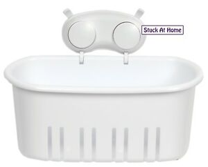 Naleon White Basket Suction cups Bathroom Removable Laundry Caravan