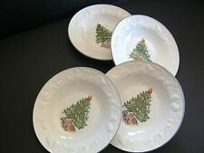 (4) Tabletops Unlimited Christmas Time Rim Soup Bowl Holiday Tree Embossed Fruit