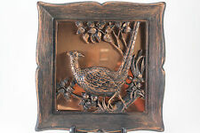 Vintage Copper Craft Guild Taunton Mass Picture Wall Plaque Bird Pheasant