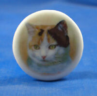 "1""  PORCELAIN CHINA  BUTTON -- TORTOISESHELL CAT"