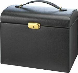Black Faux Leather Large Three Drawer Jewellery Box.