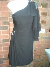 Betsy & Adam Size 6 NWT Black Dress with Sequin One Shoulder So Cute!