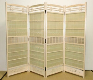 Sudare byobu partition Japanese Cedar white with Bamboo  135cmhight 46cm widthX4