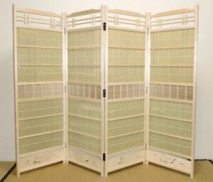 Sudare byobu partition Japanese Cedar white with Bamboo  135cmhight 46cm widthX4