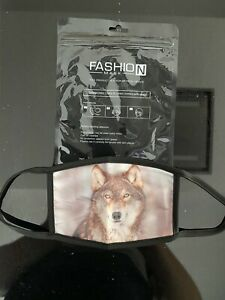 Face Mask  wolf  3D Print soft Washable Reusable Mouth Nose Covering Uk