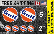 LOT 6 GULF Gasoline Antique Decals Motor GAS Oil Vintage Sign Sticker  KIT