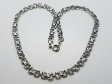 Vintage Victorian Detailed Sterling Silver 925 Unique Link Ladies Necklace