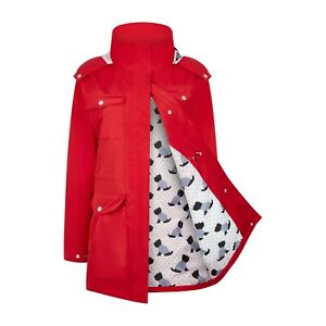 Ladies Waterproof Filey Jacket with concealed Hood and pockets, Navy or Red