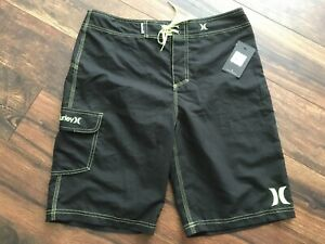 NWT Men's Hurley One and Only Boardshorts Black And Green Size 32x22