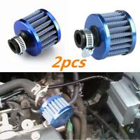 2pcs Car Motor Cold Air Intake Filter Turbo Vent Crankcase Breather Blue 12mm