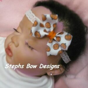 Halloween Pumpkins Dainty Hair Bow Headband 4 Preemie Newborn Toddler