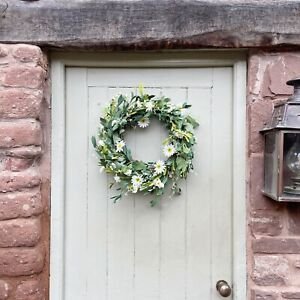 White Daisy Spring Easter Door Wreath, Faux Greenery Artificial Leaves, 44cm