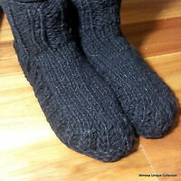 Hand Knitted Black Socks - Nepalese Woollen Warm Unisex Room Bed Winter Shoes